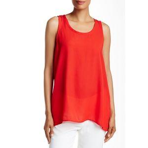 Pelion red pleat back sleeveless tank top